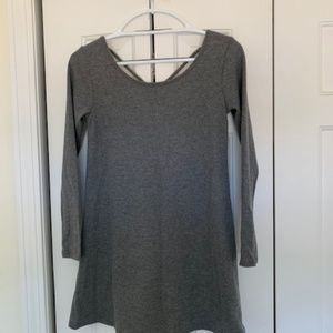 Gray dress with cross design on back